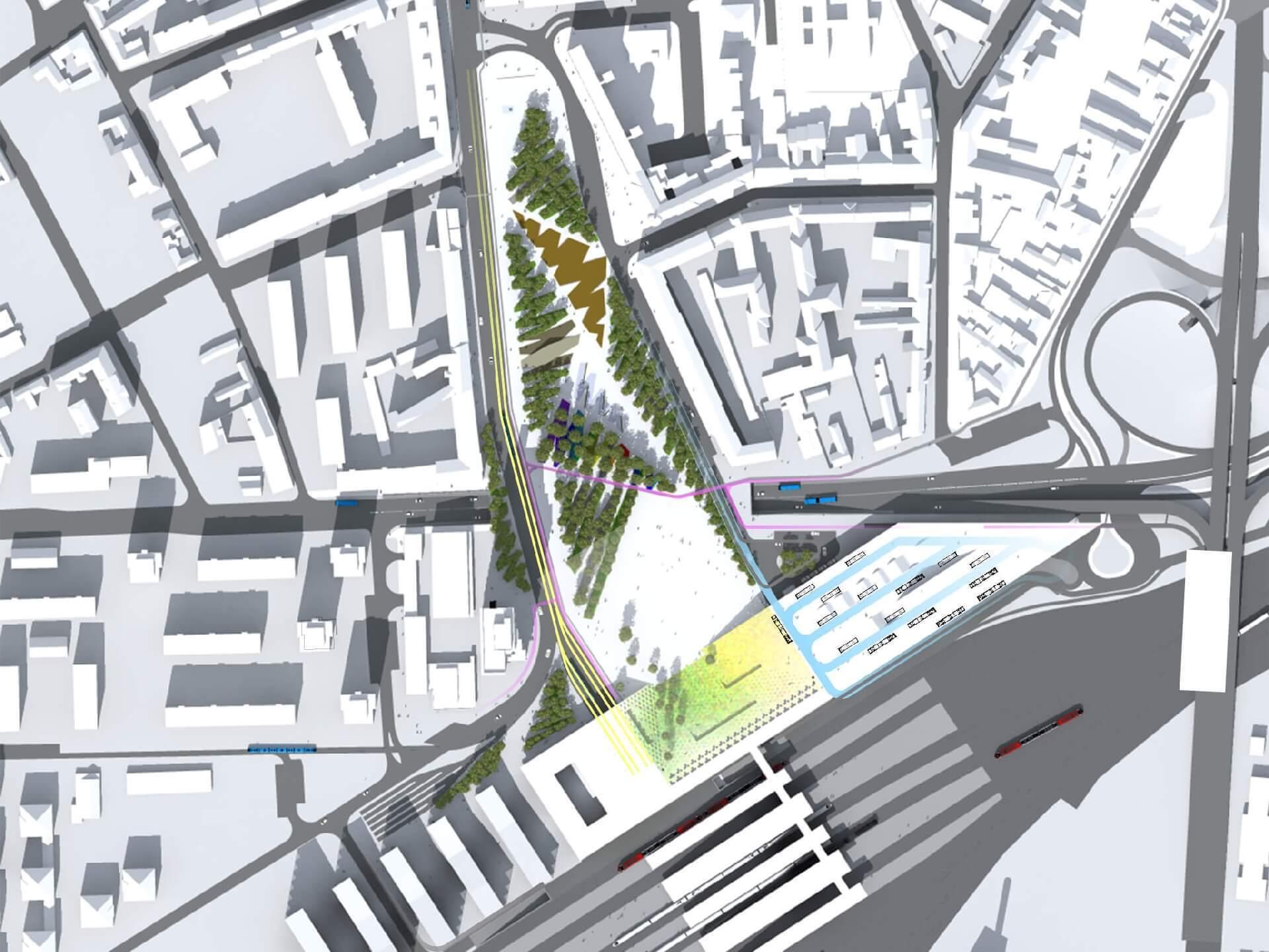 Intermodális Közlekedési Központ felülnézete