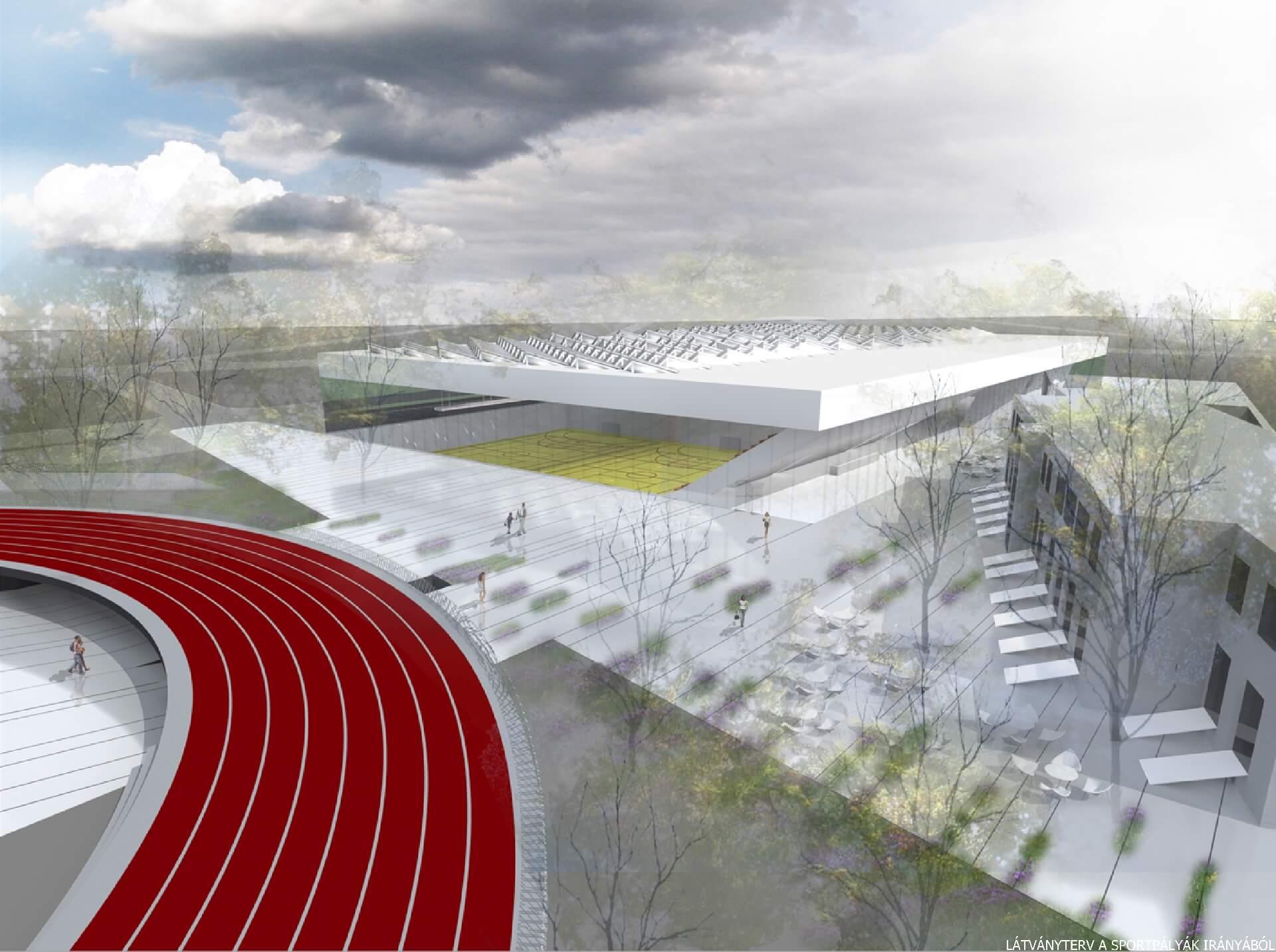 Nemzeti Közszolgálati Egyetem sportközpont látványa a sportpályákról