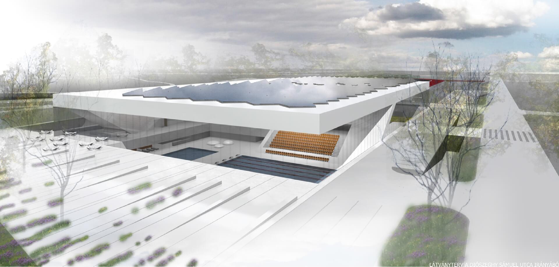 Nemzeti Közszolgálati Egyetem sportközpont távlati képe