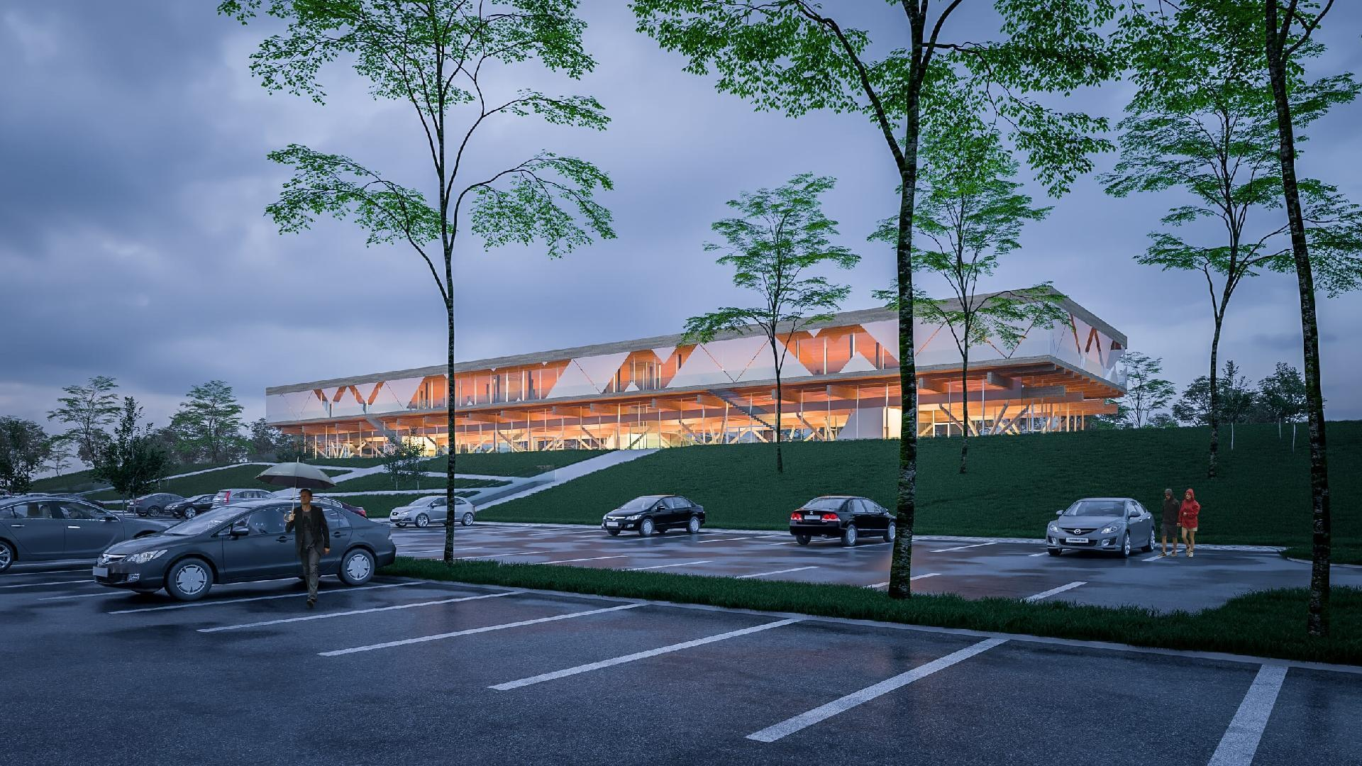 Innovációs Központ látványa a parkoló felől este
